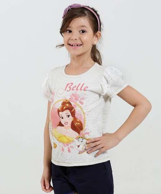 Image_ Blusa Infantil Estampa Princesa Bela Renda Disney