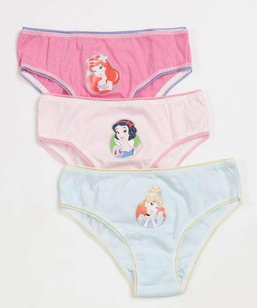 Image_Kit 3 Calcinhas Infantil Estampa Princesas Disney