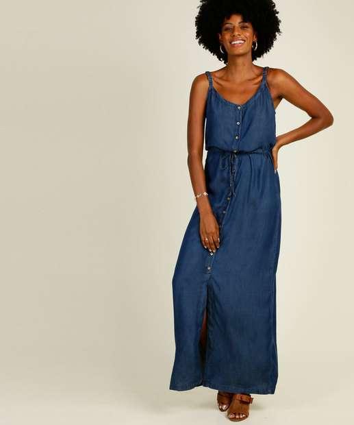 Image_Vestido Feminino Longo Jeans Botões Alças Finas