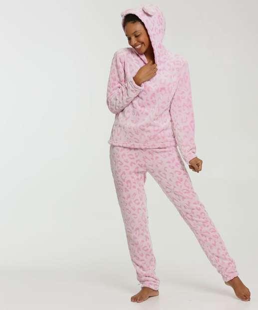 Image_Pijama Feminino Plush Animal Print Capuz Marisa