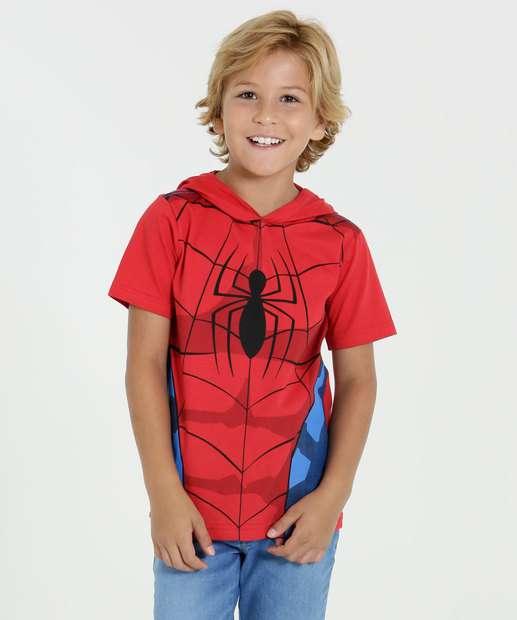 Image_Camiseta Infantil  Homem Aranha Capuz Manga Curta Marvel