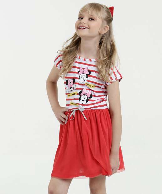 Image_Vestido Infantil Estampa Minnie Tule Manga Curta Disney