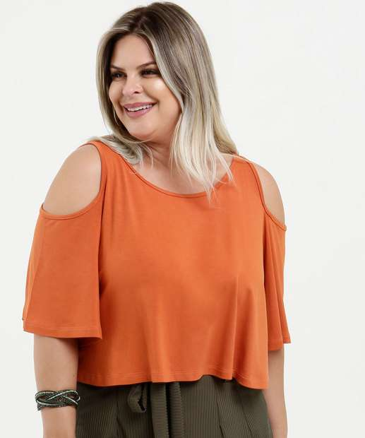 Image_Blusa Feminina Cropped Open Shoulder Manga 3/4 Plus Size
