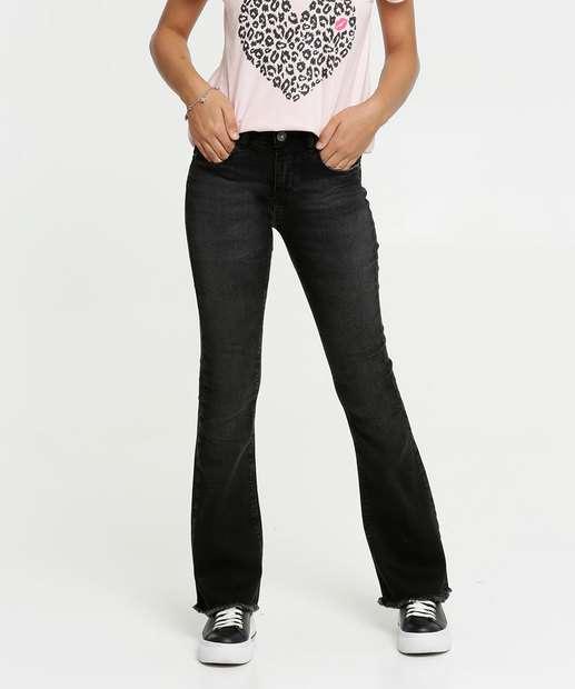 Image_Calça Juvenil Jeans Flare Barra Desfiada Marisa