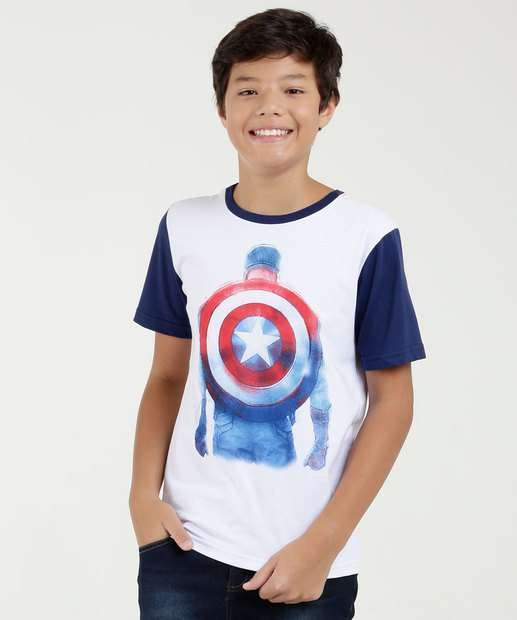 Image_Camiseta Juvenil Estampa Capitão America Manga Curta Marvel