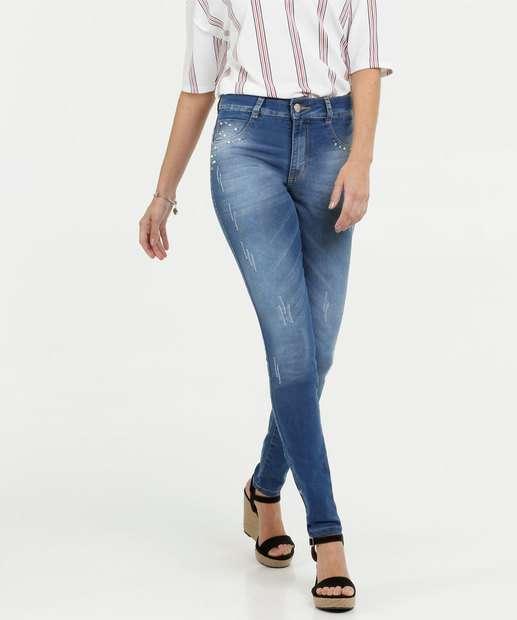 Image_Calça Jeans Skinny Feminina Pérolas Biotipo