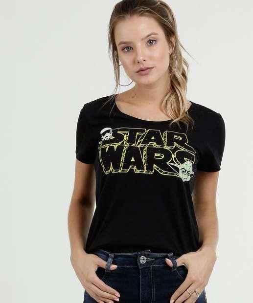 Image_Blusa Feminina Estampa Star Wars Manga Curta Disney