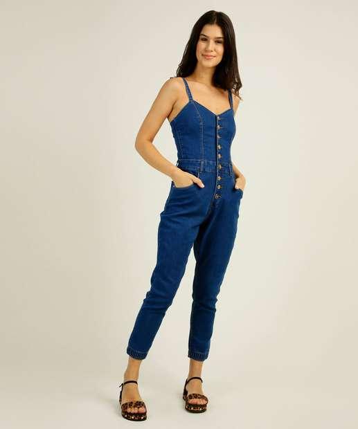 Image_Macacão Feminino Botões Alças Finas Zune Jeans