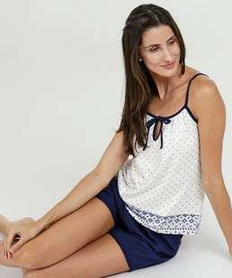 Pijama Feminino Estampado Alças Finas Marisa