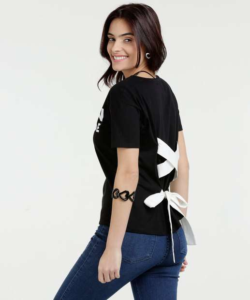Image_Blusa Feminina Estampa Frontal Manga Curta Long Walk