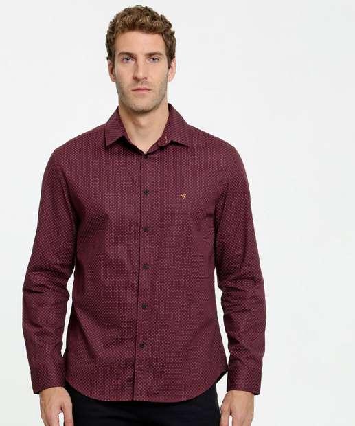 Image_Camisa Masculina Estampa Bolinhas Manga Longa