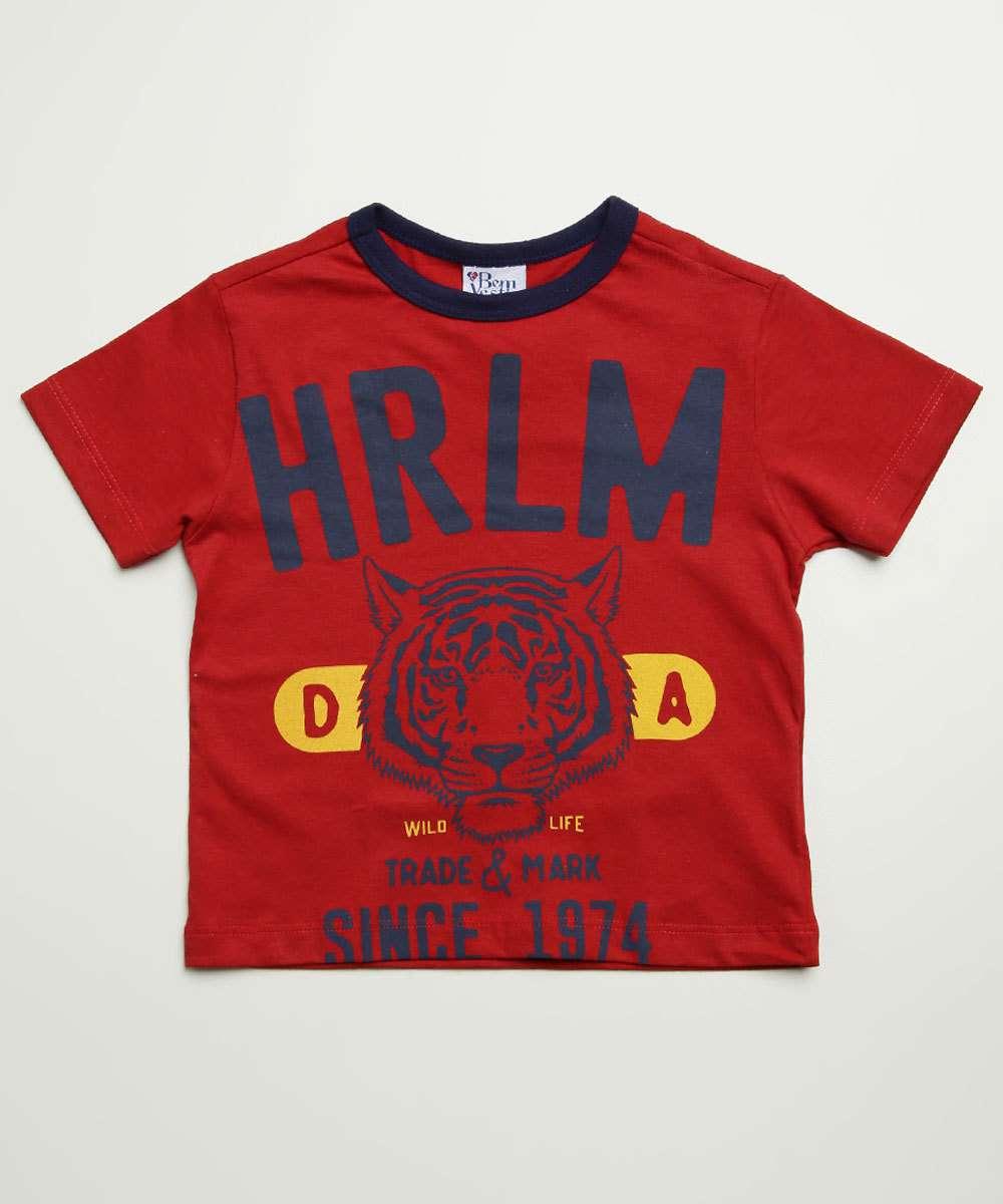 Camiseta Infantil Manga Curta Estampa Frontal Tam 1 a 3