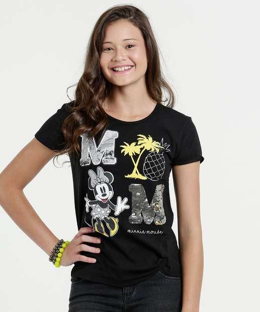 Image_Blusa Juvenil Estampa Minnie Manga Curta Disney