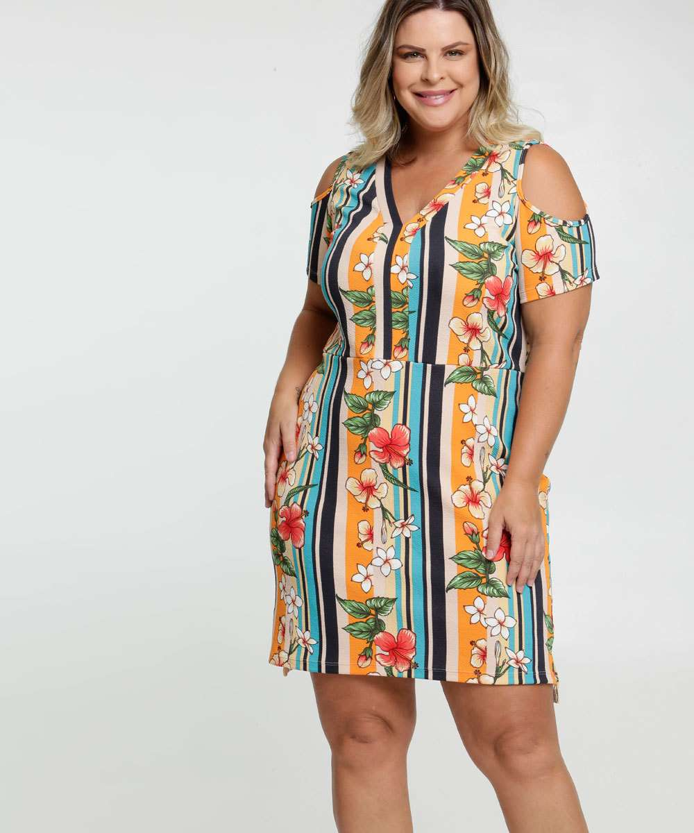 Vestido Feminino Open Shoulder Estampa Tropical Plus Size