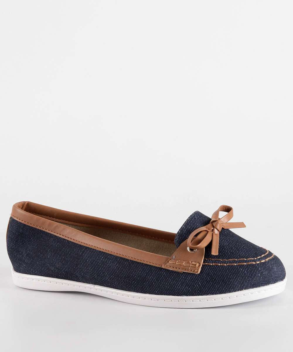 Mocassim Feminino Jeans Laço Moleca 5303100