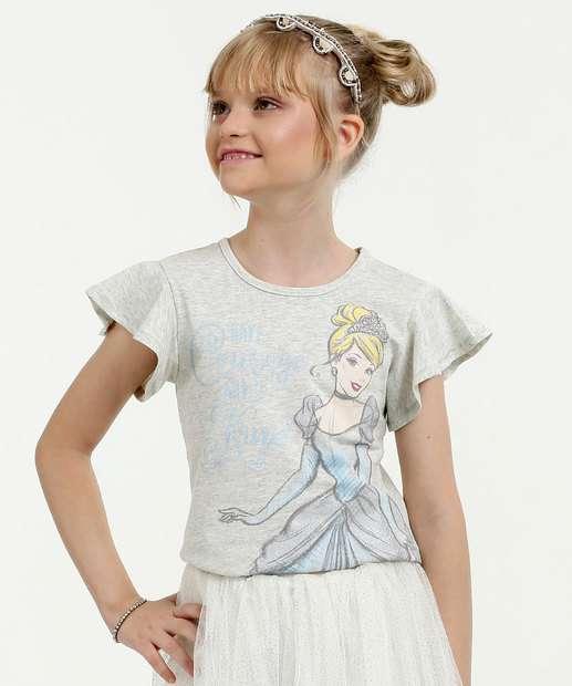 Image_ Blusa Infantil Estampa princesas Manga Curta Disney