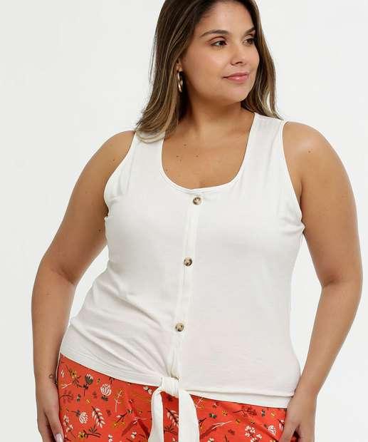 Image_Blusa Feminina Tiras Amarração Plus Size