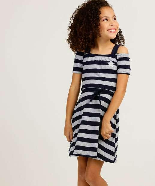 Image_Vestido Infantil Open Shoulder Listrado Tam 4 a 10