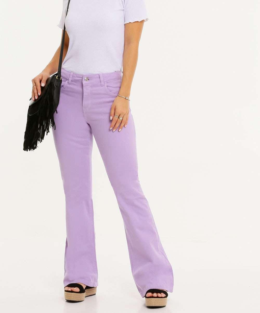 Calça Jeans Flare Feminina Bolsos Disparate