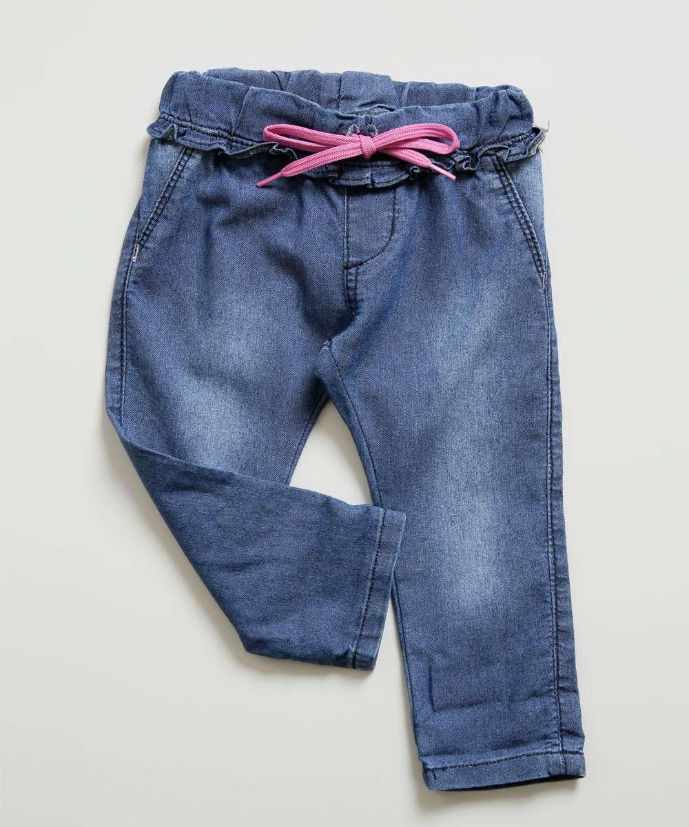 Calça Infantil Jeans Bebê Tam 0 a 10 Meses
