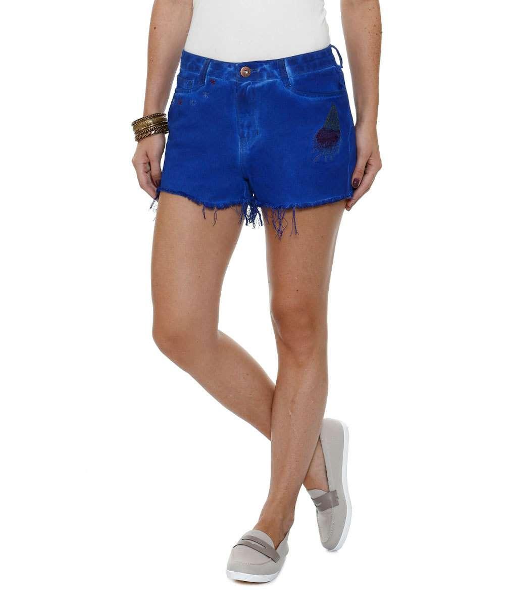 Short Feminino Jeans Bordado Marisa