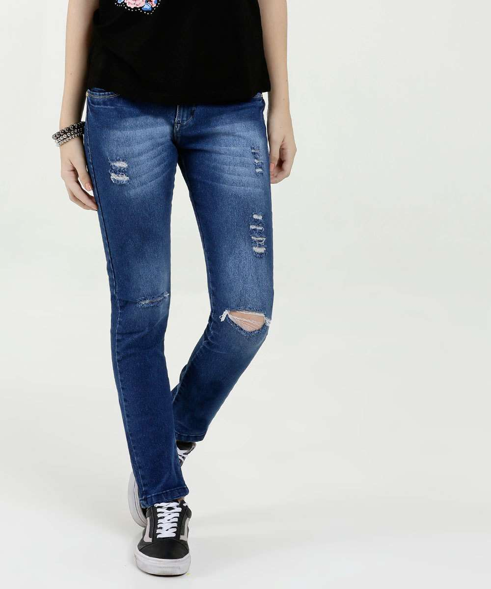 Calça Juvenil Jeans Skinny Stretch Destroyed