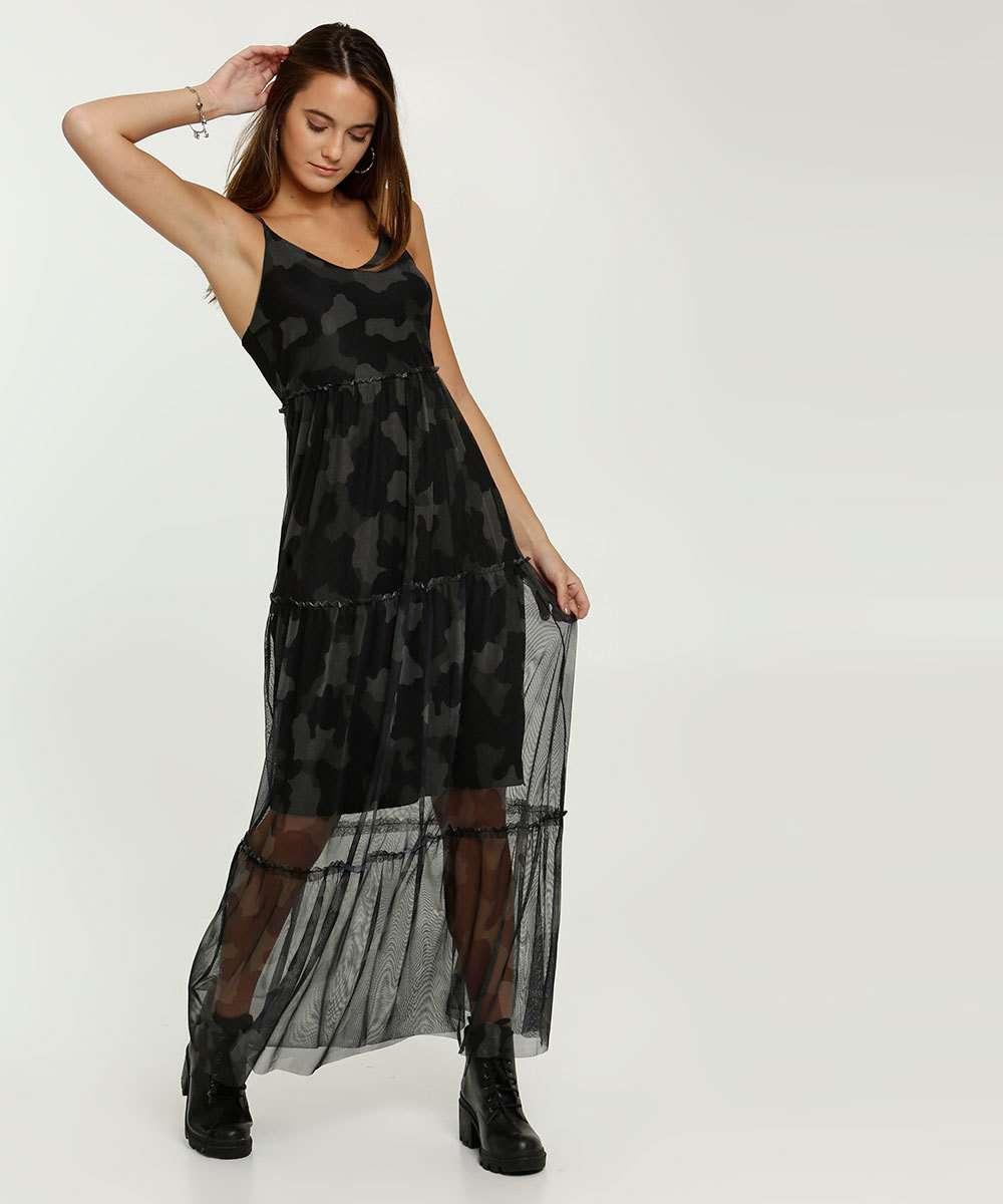 Vestido Feminino Longo Tule Recortes Camuflado Alças Finas