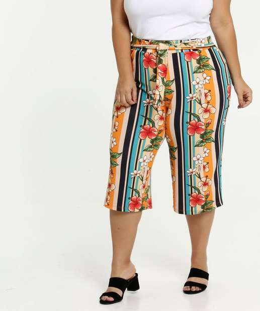 Image_Calça Feminina Pantacourt Estampa Tropical Plus Size