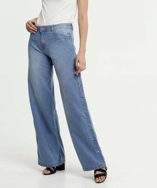 Image_Calça Feminina Jeans Pantalona Botões Biotipo
