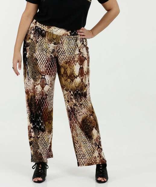 Image_Calça Feminina Pantalona Estampa Animal Print Plus Size