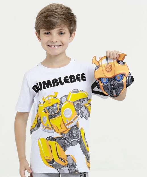 Image_Camiseta Infantil Transformers Bumblebee Brinde Máscara Hasbro