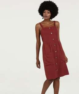 Vestido Feminino Midi Botões Alças Finas Marisa