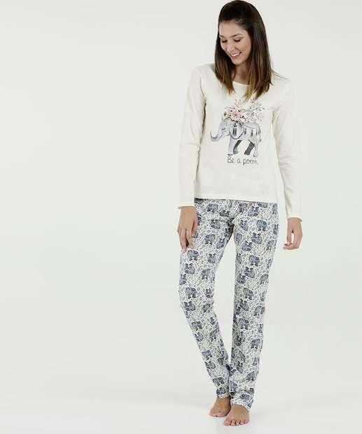 5fc8272fa Pijama Feminino Estampa Elefante Manga Longa Marisa