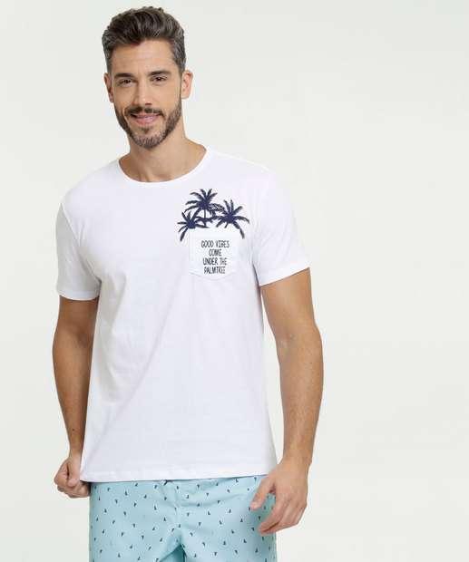 Image_Camiseta Masculina Estampa Frontal Bolso Manga Curta