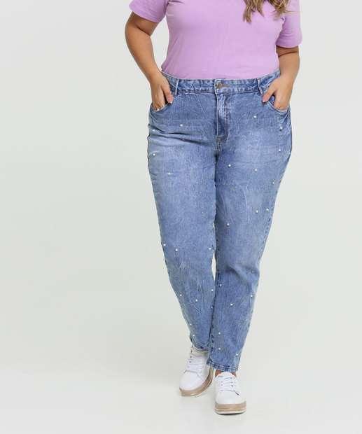 Image_Calça Jeans Cigarrete Feminina Pérolas Plus Size Marisa