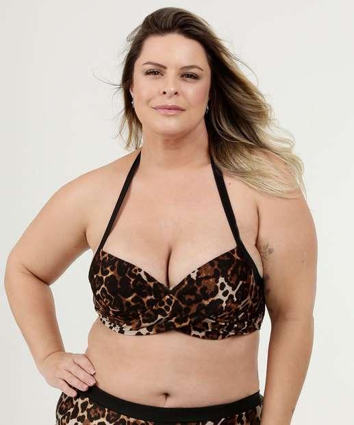 6760e2c569f5 Biquíni Feminino Transpassado Animal Print Plus Size Marisa