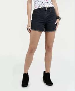 Short Feminino Jeans Barra Desfiada Marisa