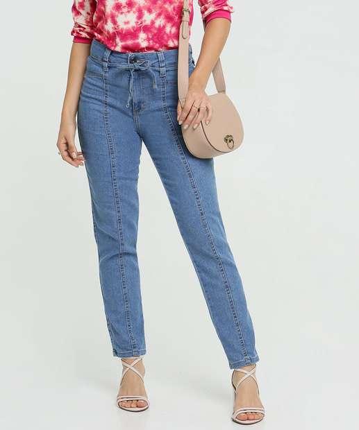Image_Calça Jeans Skinny Feminina  Amarração Cintura Alta Biotipo