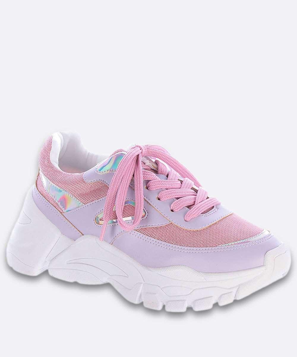 Tênis Feminino Chunky Sneaker Recorte Holográfico Zatz