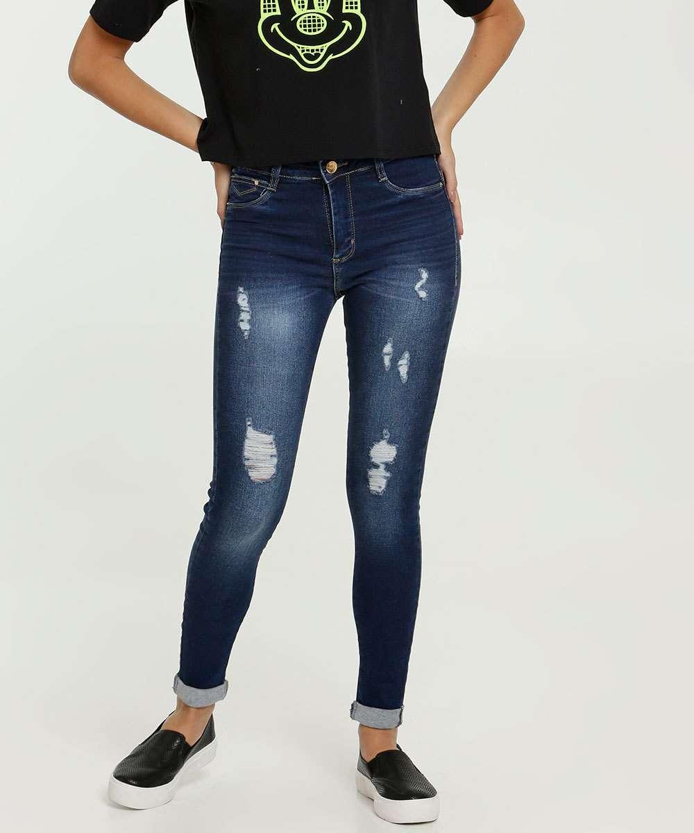 Calça Jeans Destroyed Skinny Feminina Push Up Sawary