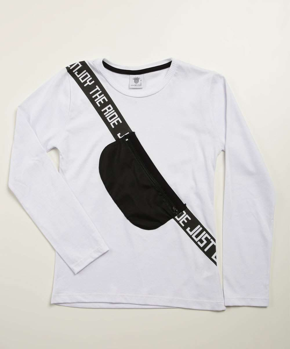 Camiseta Infantil Bolso Estampada Manga Longa Tam 4 a 10