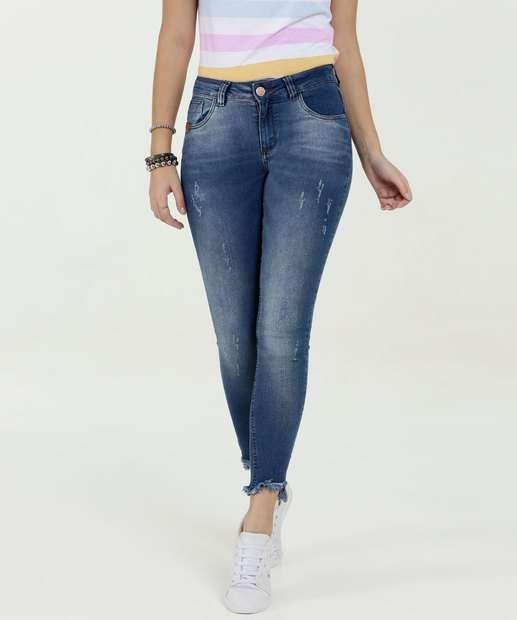 Image_Calça Feminina Skinny Puídos Barra Desfiada Uber Jeans