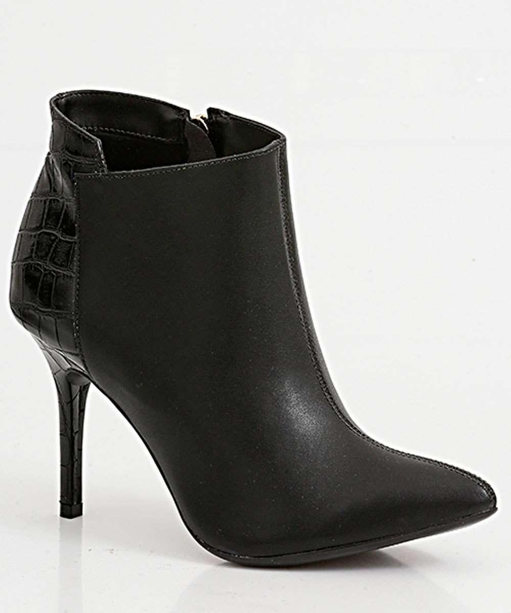 Bota Feminina Ankle Boot Recorte Croco Via Uno