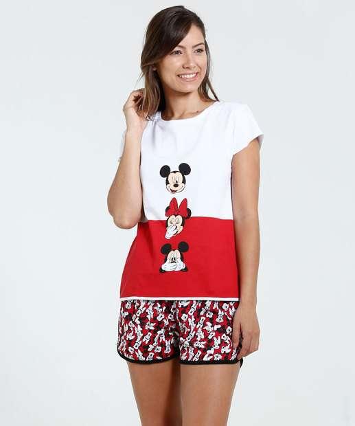 Image_Pijama Feminino Short doll Minnie e Mickey Disney