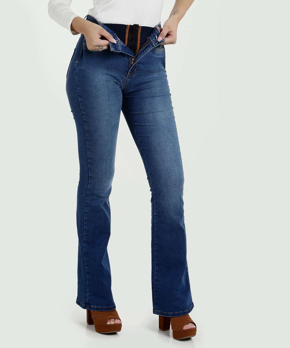 1f6c525fe Calça Feminina Jeans Flare Super Lipo Modeladora Sawary