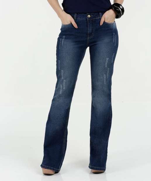 Image_Calça Feminina Jeans Flare Puídos Cintura Média Razon