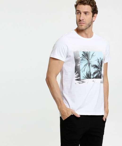 Image_Camiseta Masculina Estampa Coqueiros Manga Curta