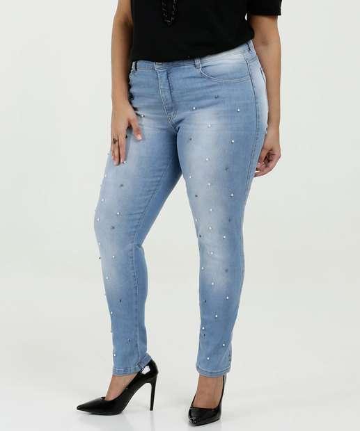 Image_Calça Feminina Jeans Skinny Pérolas Plus Size Biotipo