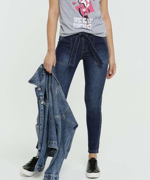 Image_Calça Jeans Skinny Feminina Tiras Amarração Sawary