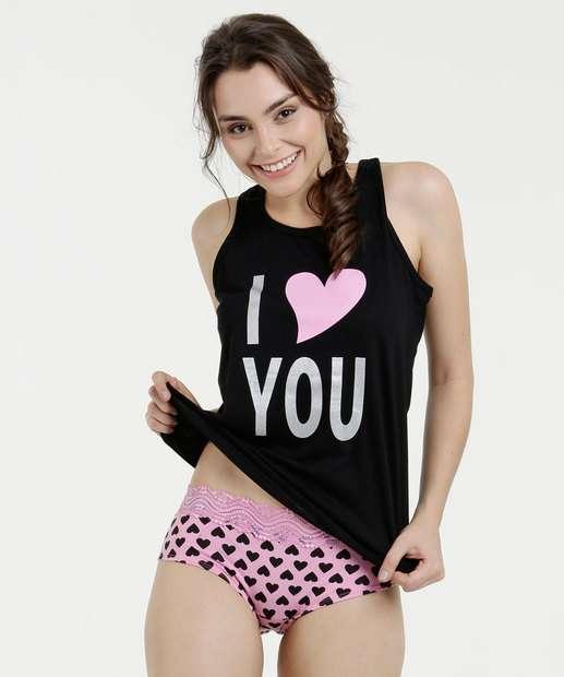 Image_Pijama Feminino Baby Doll Estampa Frontal Nadador Marisa